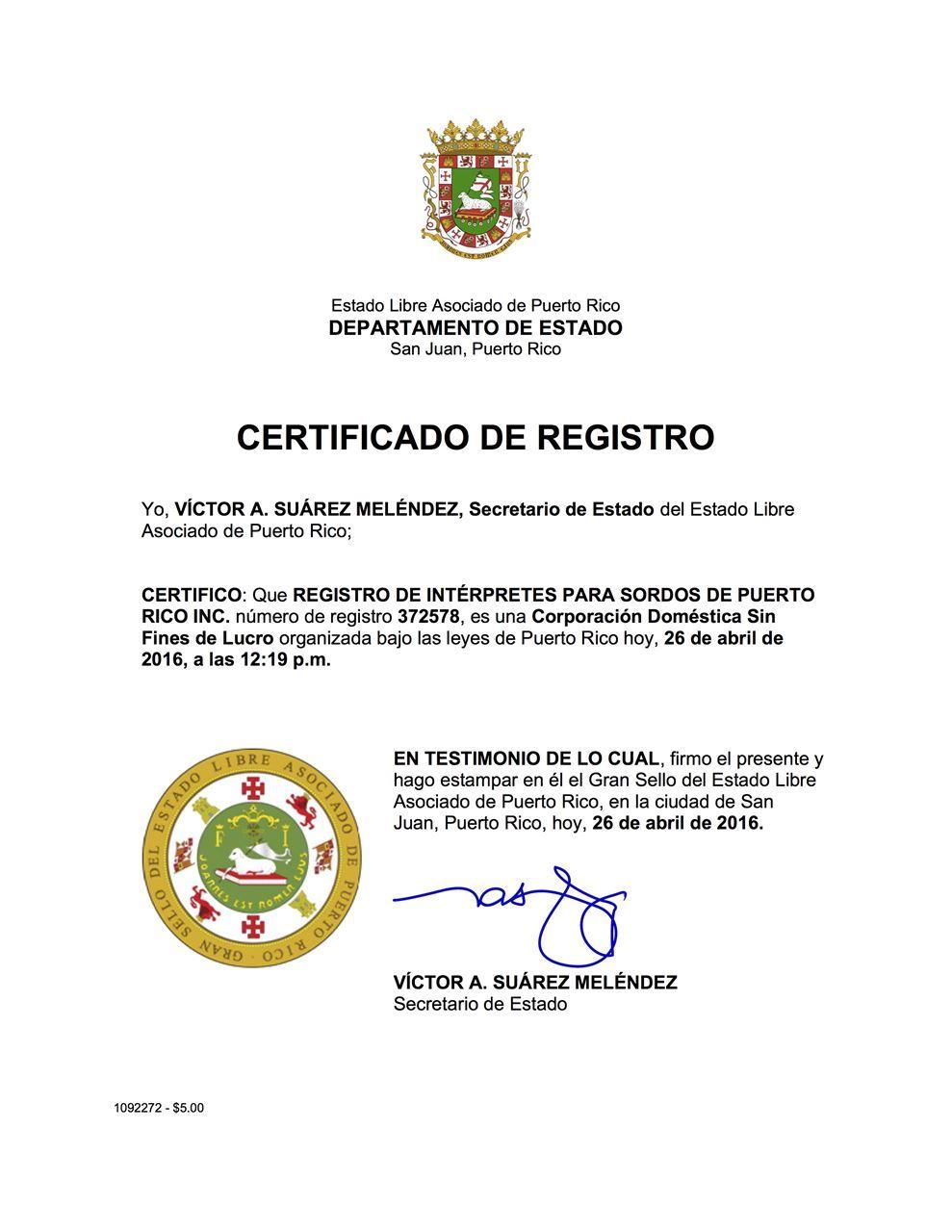 registro de intrpretes para sordos de puerto rico inc rispri certificado de registro certificate of registry